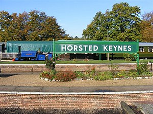 Horsted Keynes railway station - The station sign and Sharpthorn