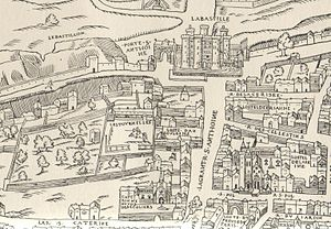 Hôtel des Tournelles - The district around the Hôtel des Tournelles in 1550