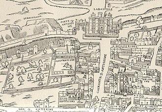 Hôtel des Tournelles - The district around the Hôtel des Tournelles in 1550