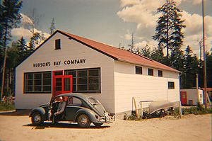 Asubpeeschoseewagong First Nation - Hudson's Bay Store in Grassy Narrows, early 1960s