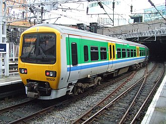 West Midlands Passenger Transport Executive - Class 323 in the original Centro livery at Birmingham New Street in September 2007