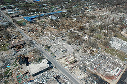 The aftermath of Hurricane Katrina in Gulfport, Mississippi. Katrina was the costliest tropical cyclone in United States history.