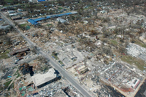 Effects of tropical cyclones - The aftermath of Hurricane Katrina in Gulfport, Mississippi. Katrina was the second-costliest tropical cyclone in United States history.