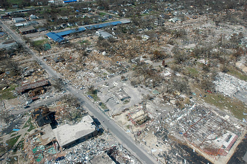 The aftermath of Hurricane Katrina in Gulfport, Mississippi. Hurricane katrina damage gulfport mississippi.jpg