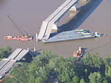Damage to the Interstate 40 bridge