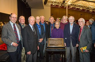 Shakey the robot - Shakey's creators at the IEEE Milestone award event at the Computer History Museum, February 2017: (from left) Richard O. Duda, Tom Garvey, IEEE President Elect Jim Jeffries, Peter E. Hart, Nils J. Nilsson, Richard Fikes, Helen Chan Wolff, Claude Fennema, Bertram Raphael, Mike Wilber.