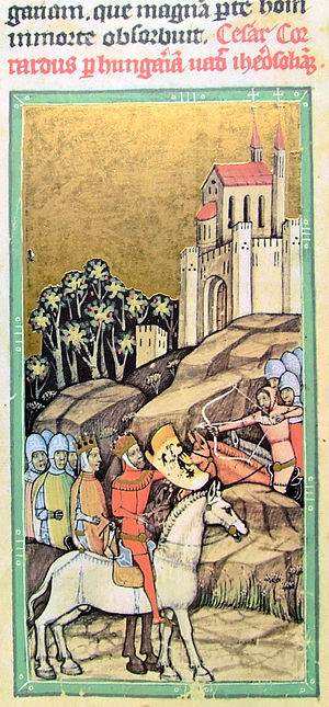 Géza II of Hungary -  Conrad III of Germany and the German crusaders arrive in Hungary (from the Illuminated Chronicle)