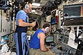ISS-53 Aleksandr Misurkin and Sergey Ryazansky monitor the docking of Progress MS-07.jpg