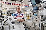 ISS-56 Drew Feustel during a crew choice event inside the Kibo lab.jpg