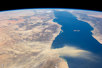 Red Sea - Annotated view of the Nile and Red Sea, with a dust storm