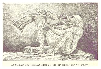"Owen Lanyon - Caricature from ""Incwadi Yami"", showing Major William Owen Lanyon being eaten by the Cape Colony."