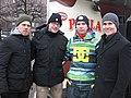 Ice hockey team Jokerit players Antti Tyrvainen, Jarkko Ruutu, Don Bigileone and Leland Irving. (129490904141).jpg