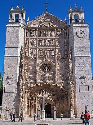Isabelline Gothic - Facade of Iglesia conventual de San Pablo, Valladolid.
