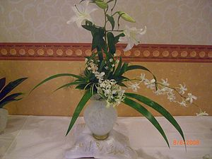 Ikebana Japanese art of flower arrangement,