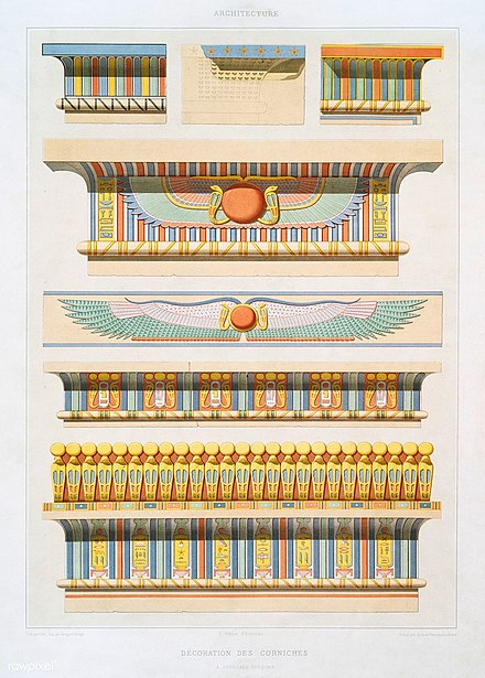 Illustrations of various examples of ancient Egyptian cornices, all of them having cavettos Illustrations of various examples of ancient Egyptian cornices.jpg