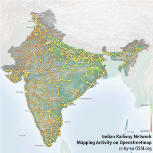 Indian Railway Network Coverage on OSM.png