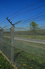 Expanded metal fence against a blue sky with rows of barbed wire lining the top