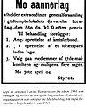 Innkalling til møtet i 1904 hvor Mo idrettslag ble opprettet.jpg