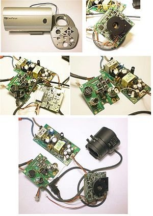 Closed-circuit television camera - Image: Inside of an Ever Focus CCTV camera 20110115
