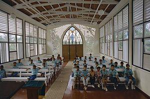 Religion in Suriname - Interior of a Moravian church.