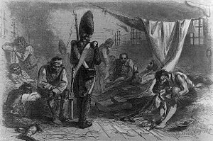 HMS Jersey (1736) - Interior of the old Jersey prison ship, in the Revolutionary War
