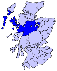 Ligging van Inverness-shire in Schotland