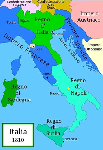Joseph Bonaparte - Napoleonic Italy in 1810, Naples being the same extent under Joseph (1806 - 1808).