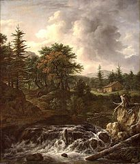 Mountainous landscape with waterfall, after Jacob van Ruisdael