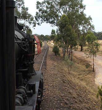 Victorian Goldfields Railway - J 515 heading for Maldon station, as seen from the fireman's side window of the cab