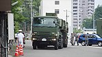 JASDF MIM-104 Patriot PAC-2 7t Tractor(Mitsubishi Fuso Super Great, 49-2211) with M901 Launching Station(49-3140) left front view at JMSDF Maizuru Naval Base July 29, 2017 01.jpg
