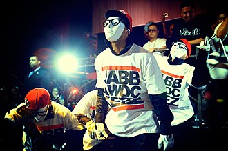 Hip-hop dance - The JabbaWockeez, winners of the first season of America's Best Dance Crew, performing in 2008 at Vivid Nightclub in San Jose, California.