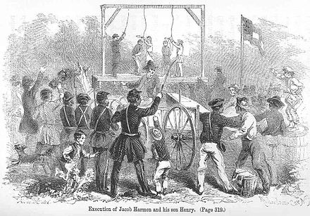 Confederate soldiers hanging pro-Union bridge-burning conspirators Jacob-henry-harmon-hanging-1862.jpg