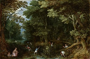 Leto - Latona and the Lycian Peasants, ca. 1605, by Jan Brueghel the Elder.