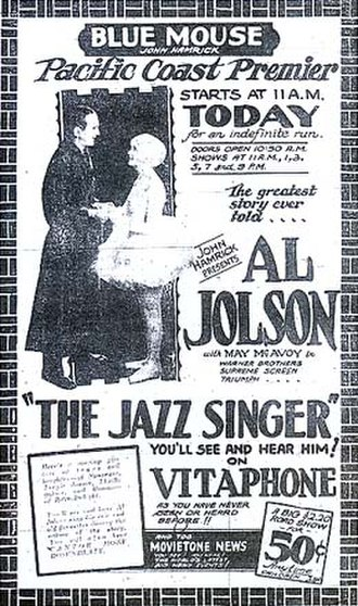 Movietone News - Newspaper ad from a fully equipped theater in Tacoma, Washington, showing The Jazz Singer, on Vitaphone, and a Fox newsreel, on Movietone, together on the same bill.