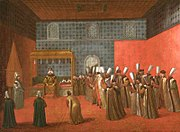 Audience given by Ahmed III in the Audience Chamber, painting by Jean-Baptiste Vanmour (September 1727)