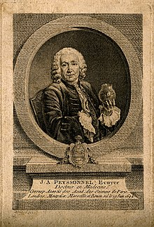 Jean Antoine Peyssonnel. Line engraving by E. Fessard after Wellcome V0004640.jpg