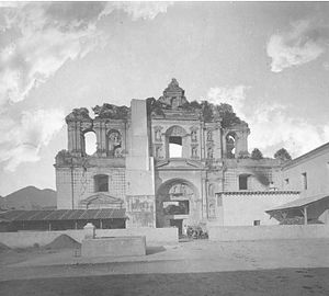 Church and Convent of Society of Jesus (Antigua Guatemala) - Society of Jesus church ruins in 1880.