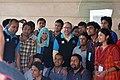 Jimbo with Bangladeshi Wikimedians at Bengali Wikipedia 10th Anniversary Gala Event, Dhaka (06).jpg