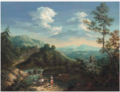 Joannes Philippus Spalthoven - An extensive mountainous landscape with a drover, his cattle, a shepherd and his flock and a shepherdess on a river bank.png
