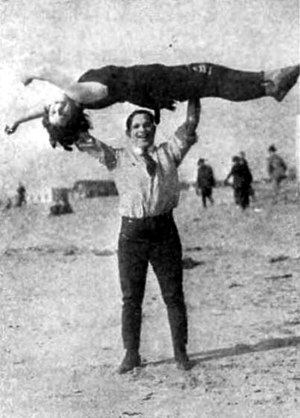 Joe Rock - Joe Rock and actress Patsy de Forest at the beach in 1920