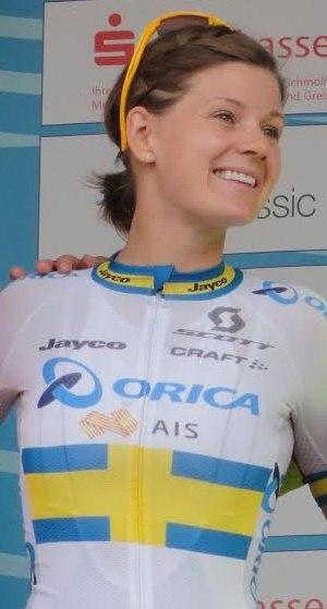 Emma Johansson - Emma Johansson on a stage podium of the 2015 Thüringen Rundfahrt der Frauen, in which she won the general classification