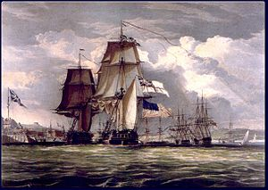 HMS Shannon (1806) - An 1830 representation of HMS Shannon leading the captured American frigate Chesapeake into Halifax Harbour in June 1813.
