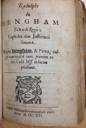 Ralph de Hengham - Image: John Fortescue, De Laudibus Legum Angliae (2nd ed, 1660, Hengham title page) 20131204