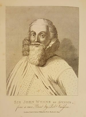 "Sir John Wynn, 1st Baronet - John Wynn as depicted in ""History of the Gwydir Family"""