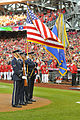Joint Base Air Force Color Guard presents colors during Washington Nationals' playoff game 141004-F-XN583-444.jpg