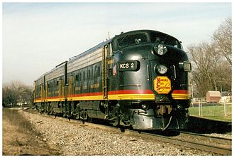 Kansas City Southern Railway - The Southern Belle FP9A No. 2 (along with a B Unit and another cab unit) running on the KCS line, 2007