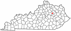 Location of Camargo, Kentucky