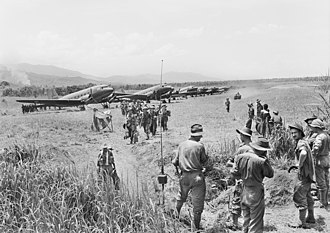 Battle of Kaiapit - Australian soldiers from the 2/16th Infantry Battalion arriving at Kaiapit after the area was captured by the 2/6th Independent Company