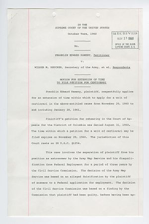 Frank Kameny - Page from Petition for Writ of Certiorari - Number 676 - Kameny v. Brucker, National Archives