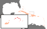 A map showing the location of the Turks and Caicos Islands